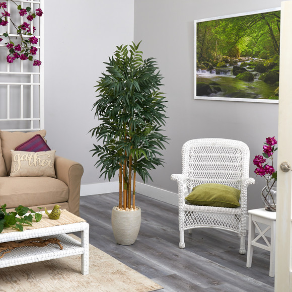 69 Phoenix Palm Artificial tree in White Planter with Stand - SKU #T2164 - 3