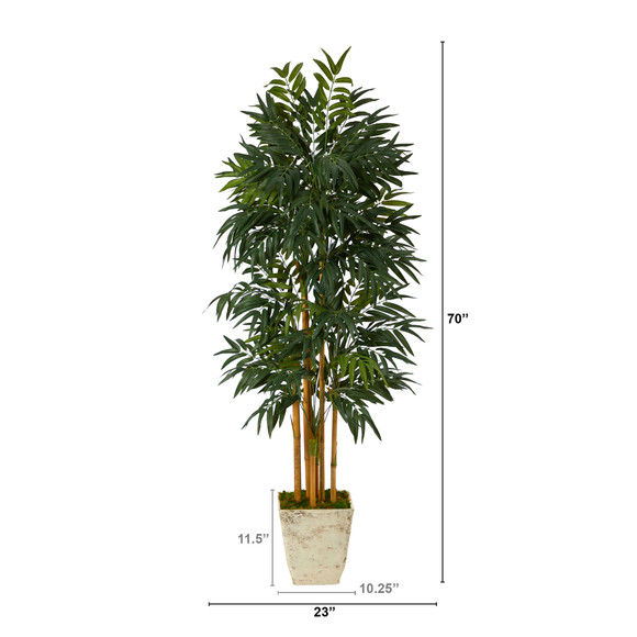 70 Phoenix Palm Artificial tree in Country White Planter - SKU #T2165 - 1