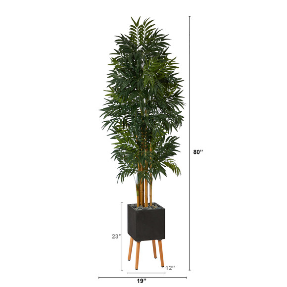 80 Phoenix Artificial Palm tree in Black Planter with Stand - SKU #T2168 - 1