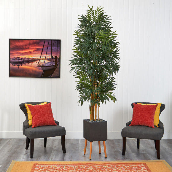 80 Phoenix Artificial Palm tree in Black Planter with Stand - SKU #T2168 - 2