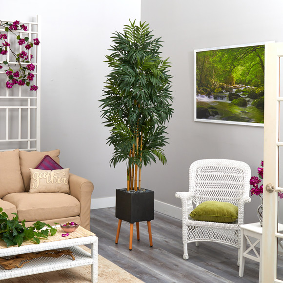 80 Phoenix Artificial Palm tree in Black Planter with Stand - SKU #T2168 - 3