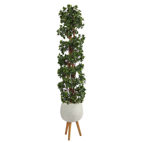 5.5 English Ivy Topiary Spiral Artificial Tree in White Planter with Stand UV Resistant Indoor/Outdoor - SKU #T2172