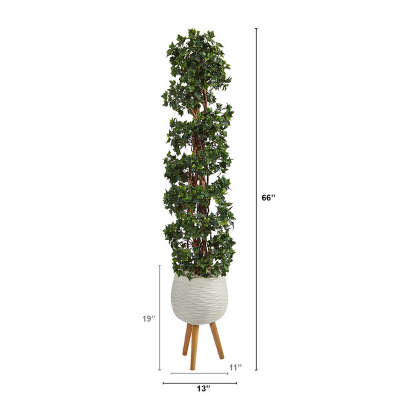 5.5 English Ivy Topiary Spiral Artificial Tree in White Planter with Stand UV Resistant Indoor/Outdoor - SKU #T2172 - 1