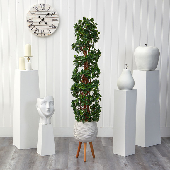 5.5 English Ivy Topiary Spiral Artificial Tree in White Planter with Stand UV Resistant Indoor/Outdoor - SKU #T2172 - 2