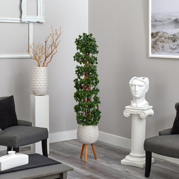 5.5 English Ivy Topiary Spiral Artificial Tree in White Planter with Stand UV Resistant Indoor/Outdoor - SKU #T2172 - 3