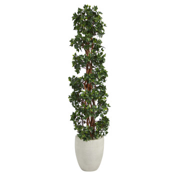 5 English Ivy Topiary Spiral Artificial Tree in White Planter UV Resistant Indoor/Outdoor - SKU #T2173