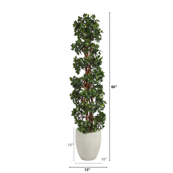 5 English Ivy Topiary Spiral Artificial Tree in White Planter UV Resistant Indoor/Outdoor - SKU #T2173 - 1