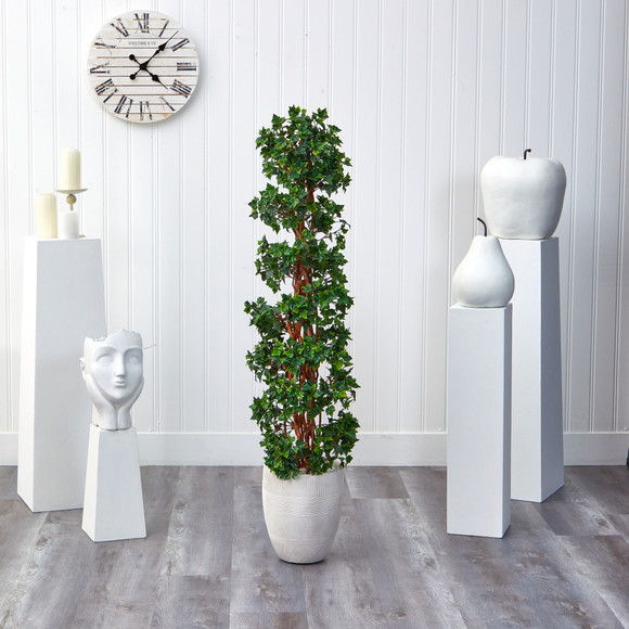 5 English Ivy Topiary Spiral Artificial Tree in White Planter UV Resistant Indoor/Outdoor - SKU #T2173 - 2