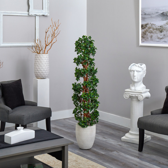 5 English Ivy Topiary Spiral Artificial Tree in White Planter UV Resistant Indoor/Outdoor - SKU #T2173 - 3