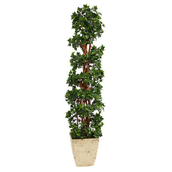 5 English Ivy Topiary Spiral Artificial Tree in Country White Planter UV Resistant Indoor/Outdoor - SKU #T2174