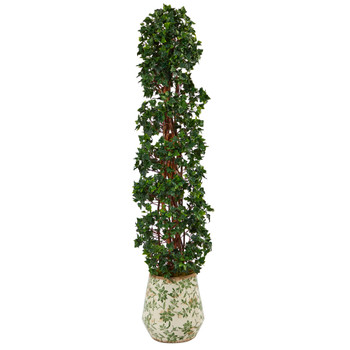 58 English Ivy Topiary Spiral Artificial Tree in Floral Print Planter UV Resistant Indoor/Outdoor - SKU #T2175