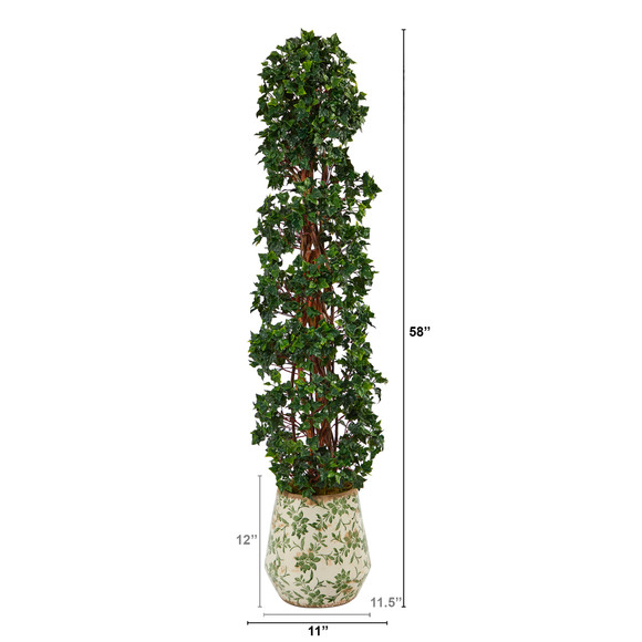 58 English Ivy Topiary Spiral Artificial Tree in Floral Print Planter UV Resistant Indoor/Outdoor - SKU #T2175 - 1