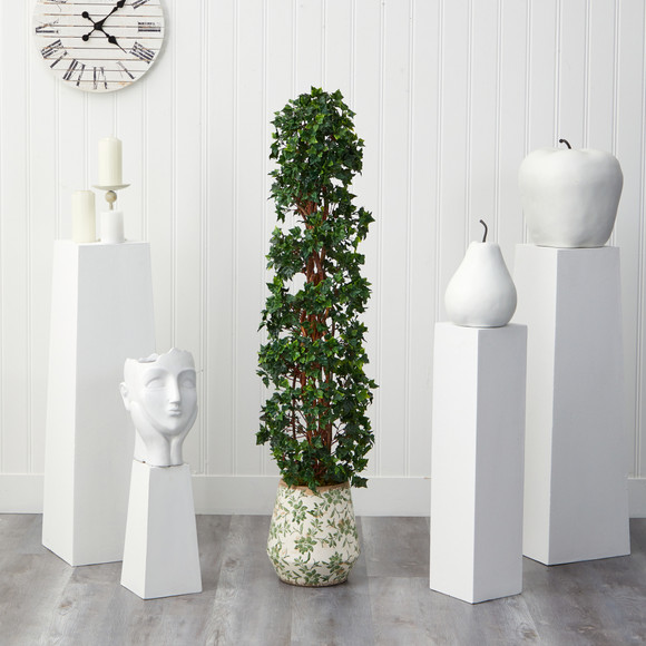58 English Ivy Topiary Spiral Artificial Tree in Floral Print Planter UV Resistant Indoor/Outdoor - SKU #T2175 - 2
