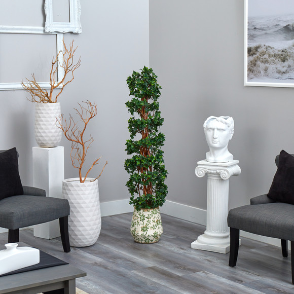 58 English Ivy Topiary Spiral Artificial Tree in Floral Print Planter UV Resistant Indoor/Outdoor - SKU #T2175 - 3