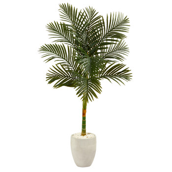 63 Golden Cane Artificial Palm Tree in White Planter - SKU #T2176