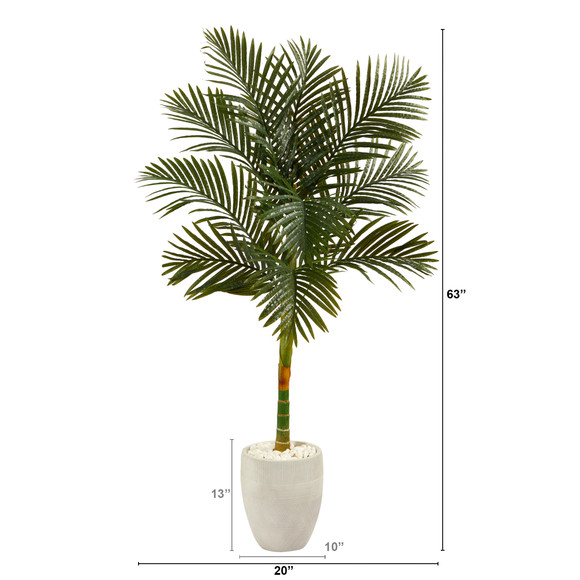 63 Golden Cane Artificial Palm Tree in White Planter - SKU #T2176 - 1