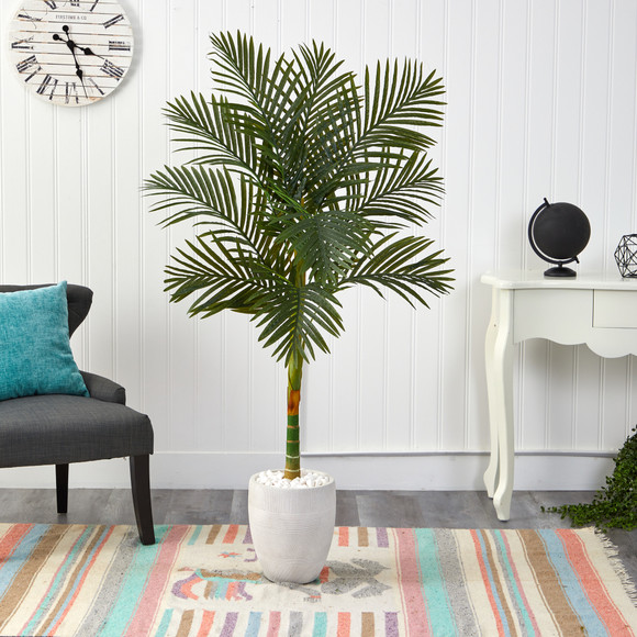 63 Golden Cane Artificial Palm Tree in White Planter - SKU #T2176 - 2