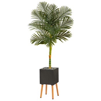 6 Golden Cane Artificial Palm Tree in Black Planter with Stand - SKU #T2177