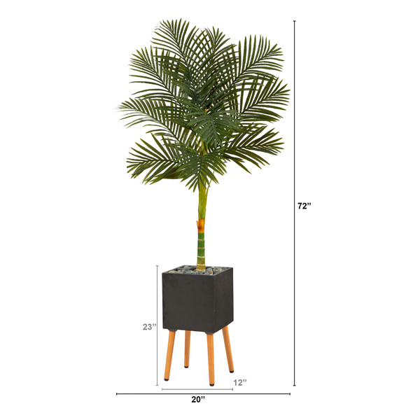 6 Golden Cane Artificial Palm Tree in Black Planter with Stand - SKU #T2177 - 1