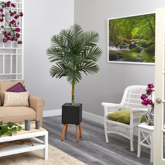 6 Golden Cane Artificial Palm Tree in Black Planter with Stand - SKU #T2177 - 2