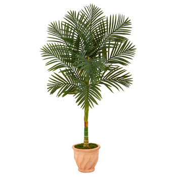 5 Golden Cane Artificial Palm Tree in Terra-Cotta Planter - SKU #T2178