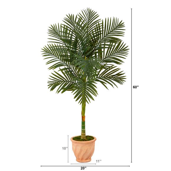 5 Golden Cane Artificial Palm Tree in Terra-Cotta Planter - SKU #T2178 - 1