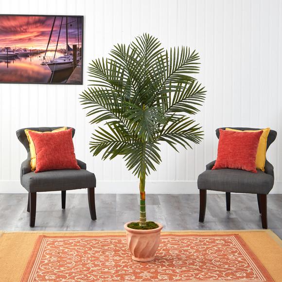 5 Golden Cane Artificial Palm Tree in Terra-Cotta Planter - SKU #T2178 - 2