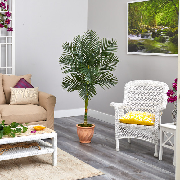 5 Golden Cane Artificial Palm Tree in Terra-Cotta Planter - SKU #T2178 - 3