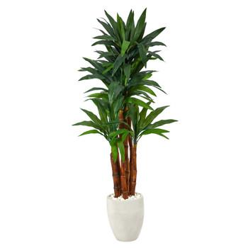 5 Dracaena Artificial Tree in White Planter - SKU #T2181