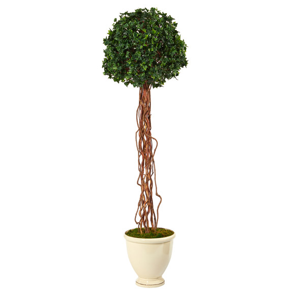 70 English Ivy Single Ball Artificial Topiary Tree in Decorative Urn UV Resistant Indoor/Outdoor - SKU #T2182