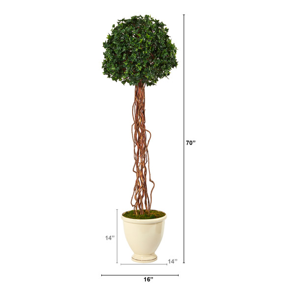 70 English Ivy Single Ball Artificial Topiary Tree in Decorative Urn UV Resistant Indoor/Outdoor - SKU #T2182 - 1