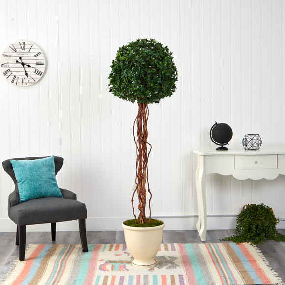 70 English Ivy Single Ball Artificial Topiary Tree in Decorative Urn UV Resistant Indoor/Outdoor - SKU #T2182 - 2