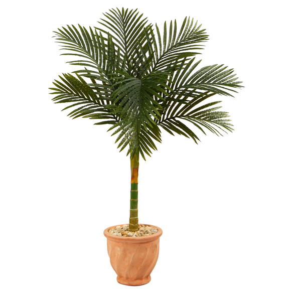 4.5 Golden Cane Artificial Palm Tree in Terra-Cotta Planter - SKU #T2184