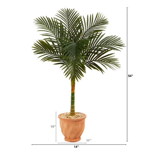 4.5 Golden Cane Artificial Palm Tree in Terra-Cotta Planter - SKU #T2184 - 1