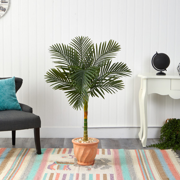 4.5 Golden Cane Artificial Palm Tree in Terra-Cotta Planter - SKU #T2184 - 2