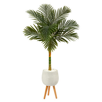 5 Golden Cane Artificial Palm Tree in White Planter with Stand - SKU #T2185