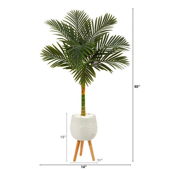 5 Golden Cane Artificial Palm Tree in White Planter with Stand - SKU #T2185 - 1