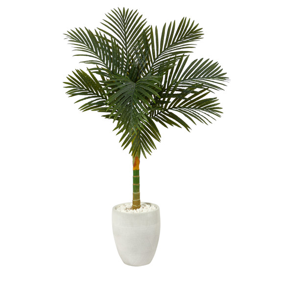 4.5 Golden Cane Artificial Palm Tree in White Planter - SKU #T2186