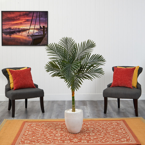4.5 Golden Cane Artificial Palm Tree in White Planter - SKU #T2186 - 2