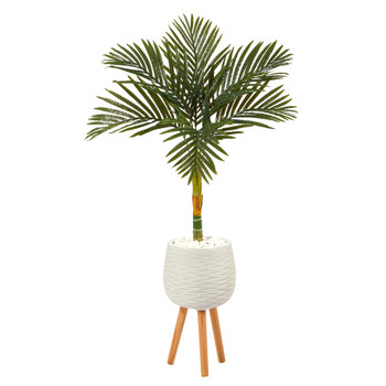4.5 Golden Cane Artificial Palm Tree in White Planter with Stand - SKU #T2187