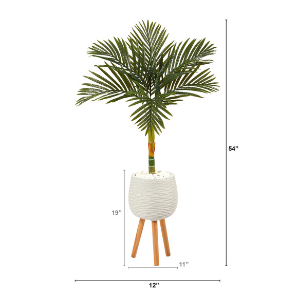 4.5 Golden Cane Artificial Palm Tree in White Planter with Stand - SKU #T2187 - 1