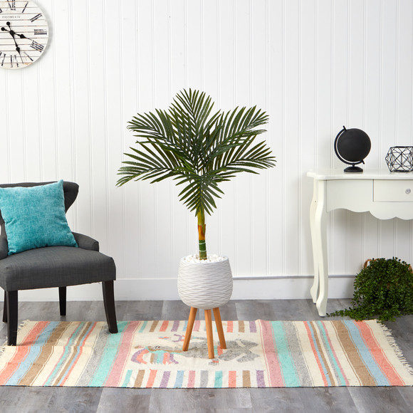 4.5 Golden Cane Artificial Palm Tree in White Planter with Stand - SKU #T2187 - 2
