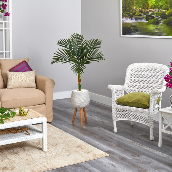 4.5 Golden Cane Artificial Palm Tree in White Planter with Stand - SKU #T2187 - 3