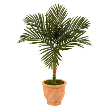 3.5 Golden Cane Artificial Palm Tree in Terra-Cotta Planter - SKU #T2188