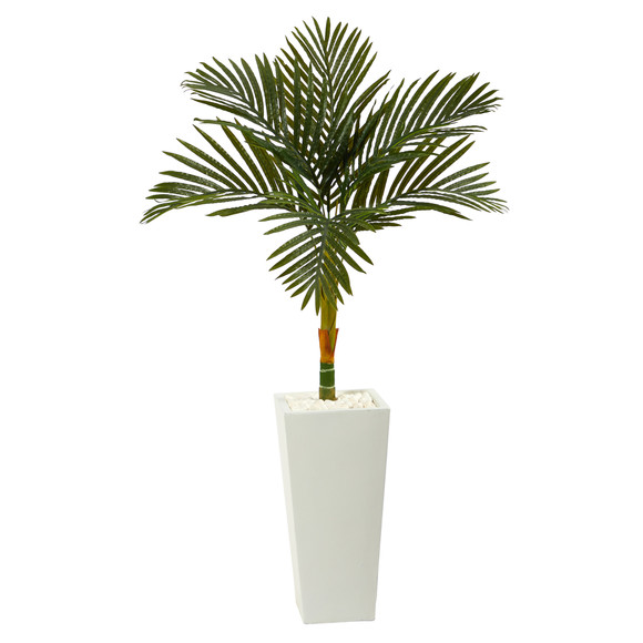 4.5 Golden Cane Artificial Palm Tree in Tall White Planter - SKU #T2189
