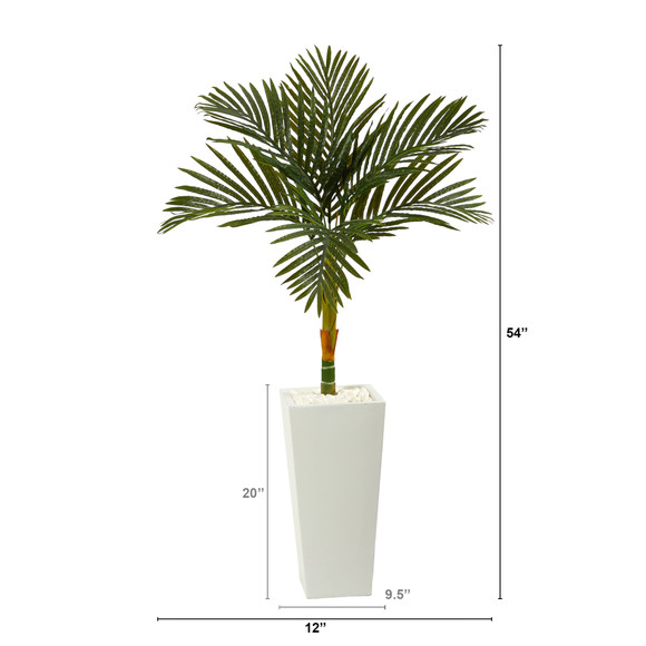 4.5 Golden Cane Artificial Palm Tree in Tall White Planter - SKU #T2189 - 1