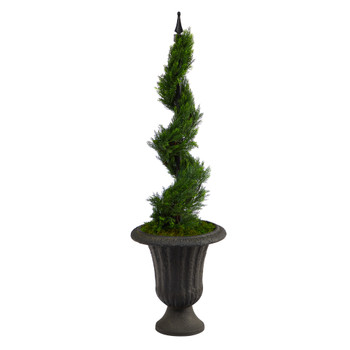 46 Cypress Spiral Topiary Artificial Tree in Charcoal Urn - SKU #T2190