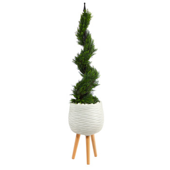 4 Cypress Spiral Topiary Artificial Tree in White Planter with Stand - SKU #T2191