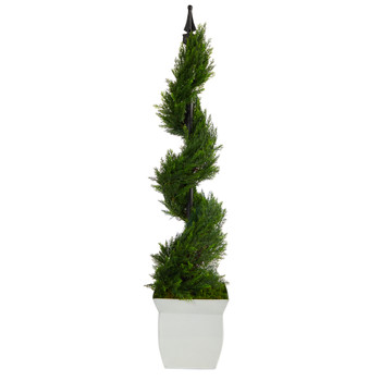 4 Cypress Spiral Topiary Artificial Tree in White Metal Planter - SKU #T2192