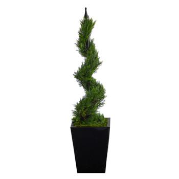 44 Cypress Spiral Topiary Artificial Tree in Black Metal Planter - SKU #T2193